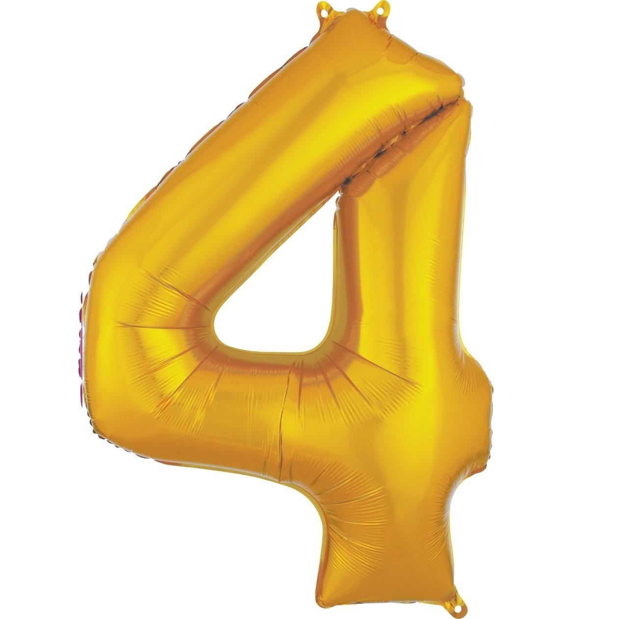 "Number ""4"" Mylar Balloon -34"" Gold"