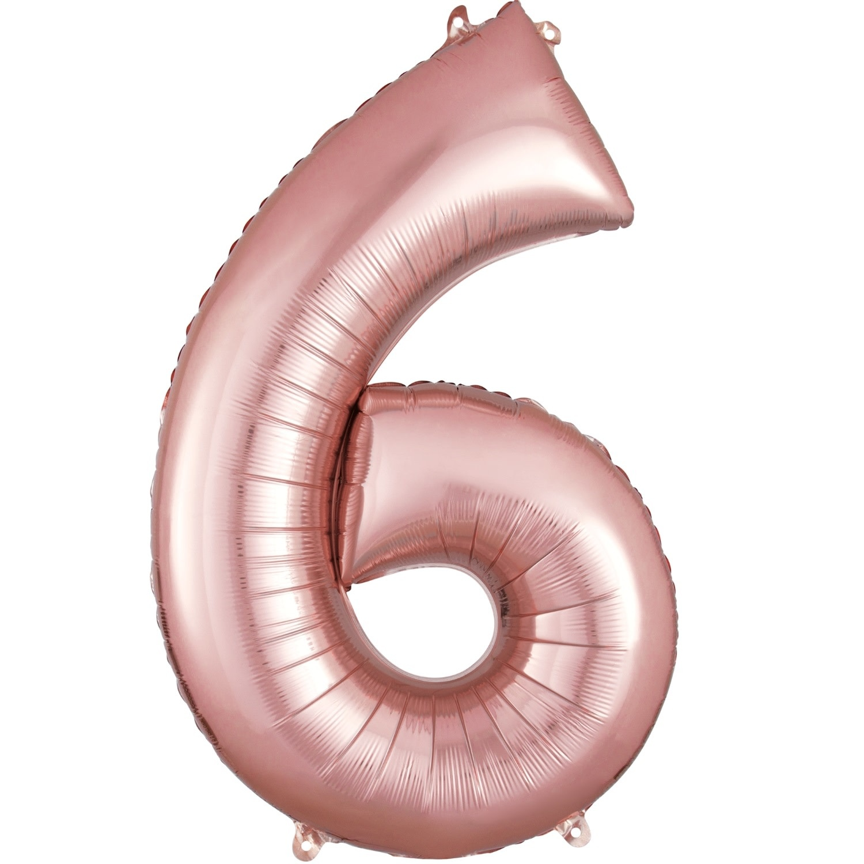 "Number ""6"" Mylar Balloon -34"" Rose Gold"