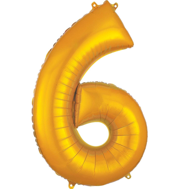 "Number ""6"" Mylar Balloon -34"" Gold"