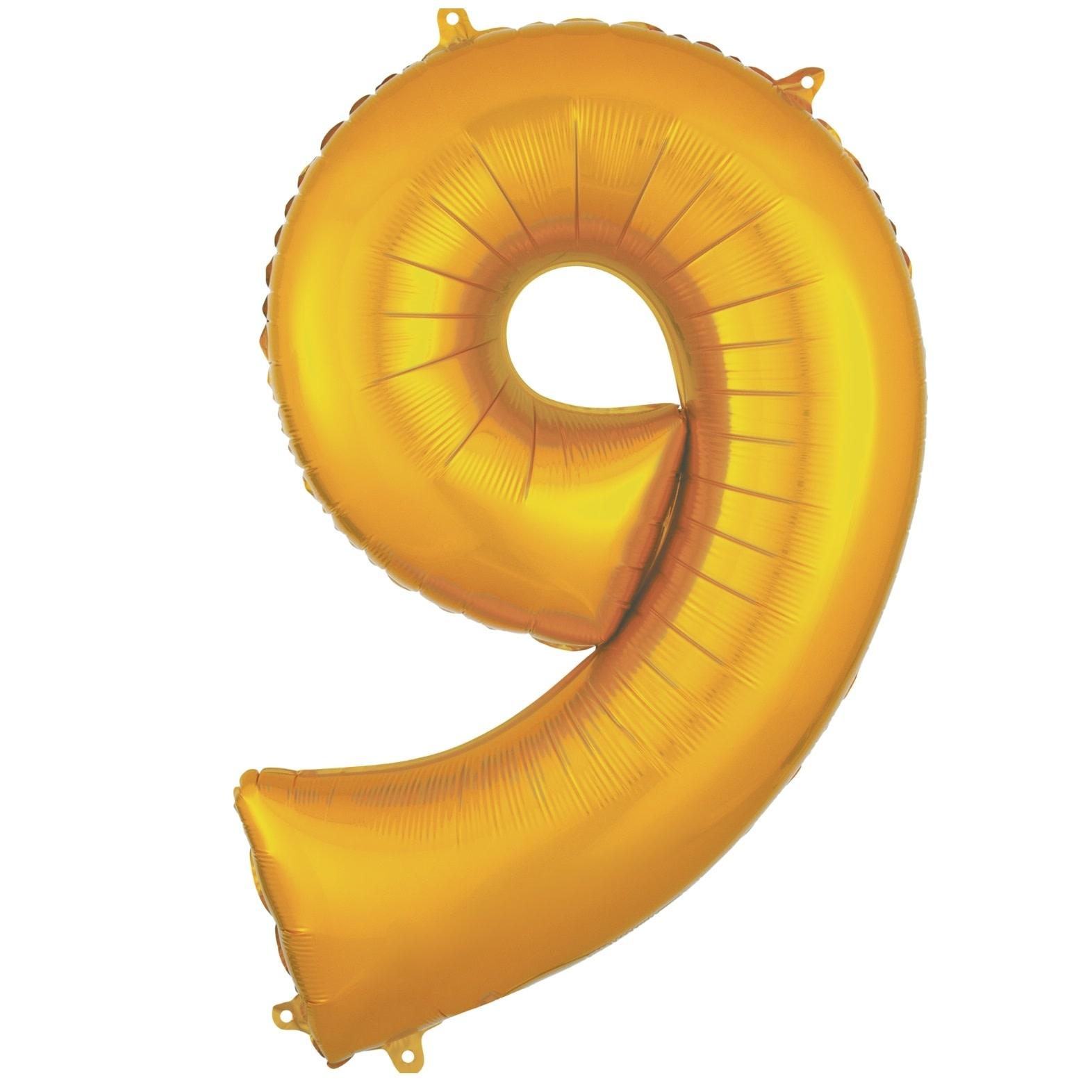"Number ""9"" Mylar Balloon - 34"" Gold"