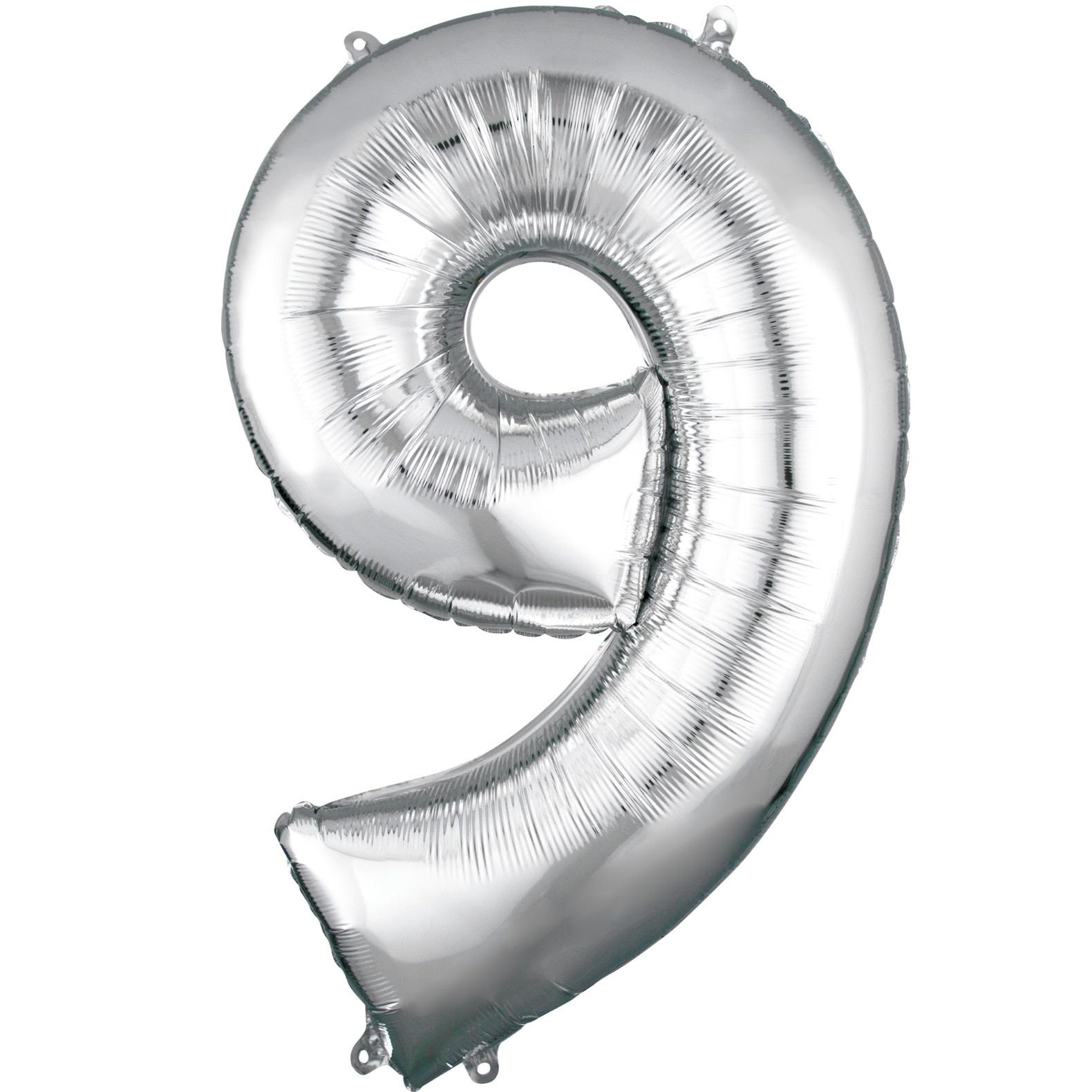 "Number ""9"" Mylar Balloon -34"" Silver"