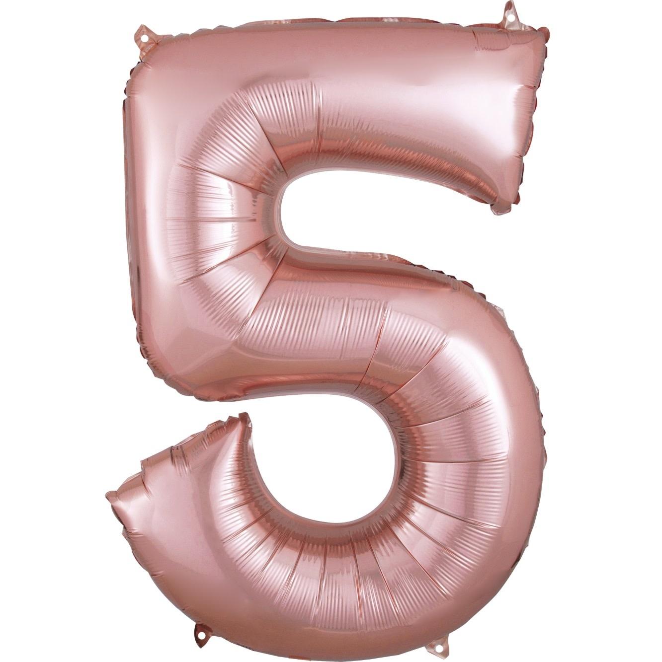 "Number ""5"" Mylar Ballooon - 34"" Rose Gold"