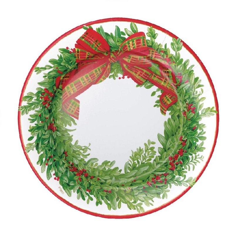 Boxwood and Berries Wreath Dinner Plate