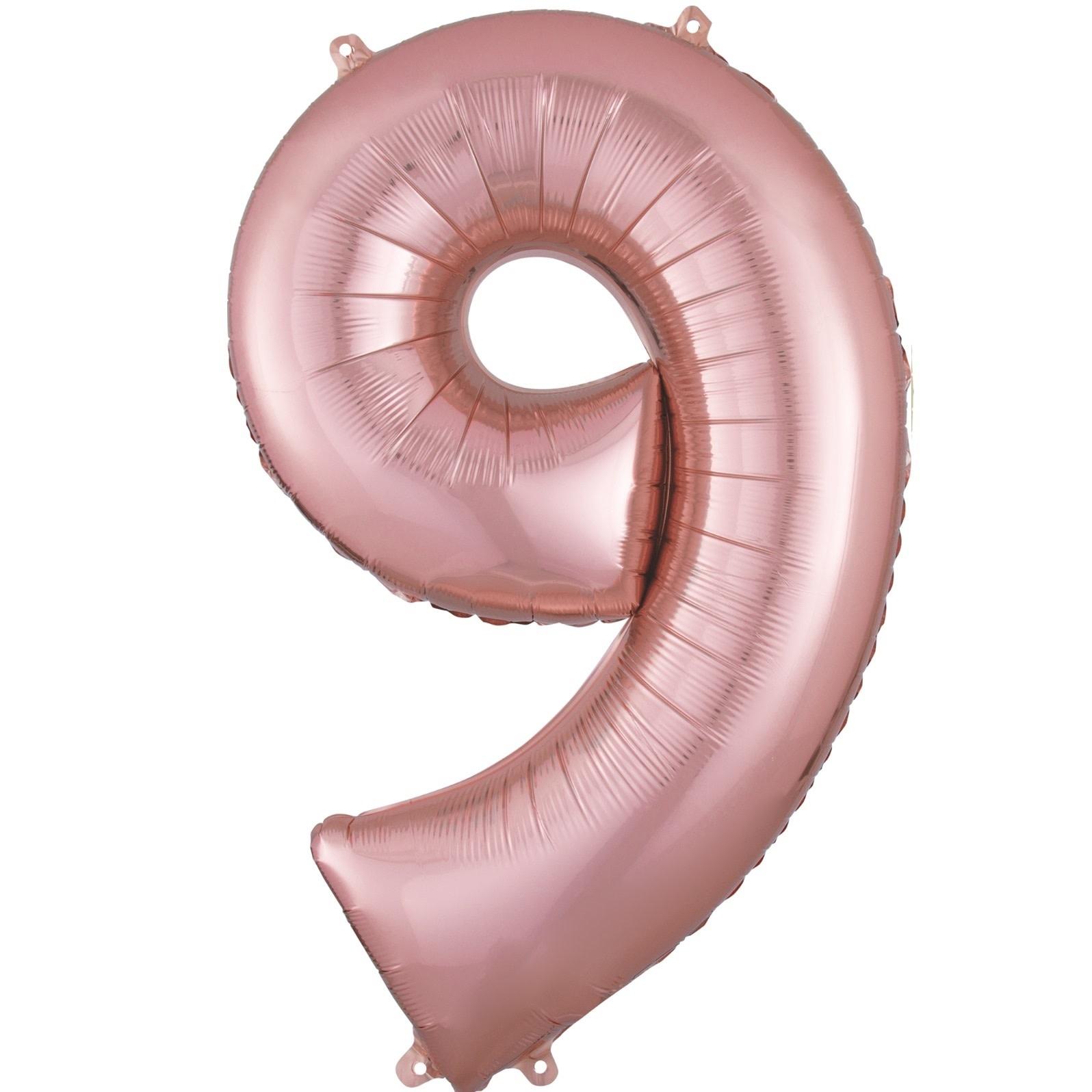 "Number ""9"" Mylar Balloon - 34"" Rose Gold"