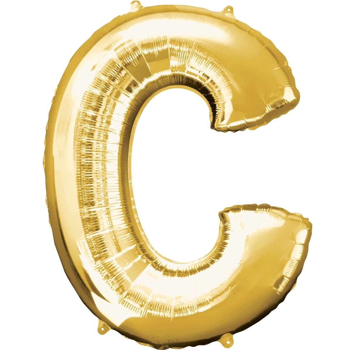 """Letter """"C"""" Mylar Balloon -32"""" Gold"""