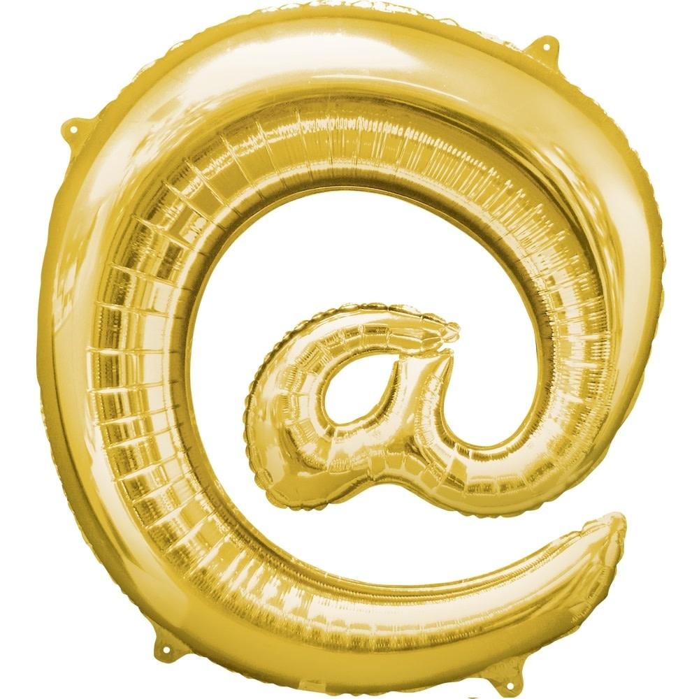 "At Sign ""@"" Mylar Balloon -32"" Gold"