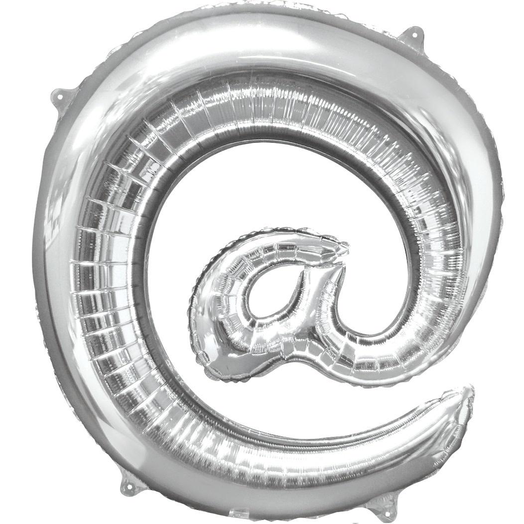 "At Sign ""@"" Mylar Balloon -32"" Silver"