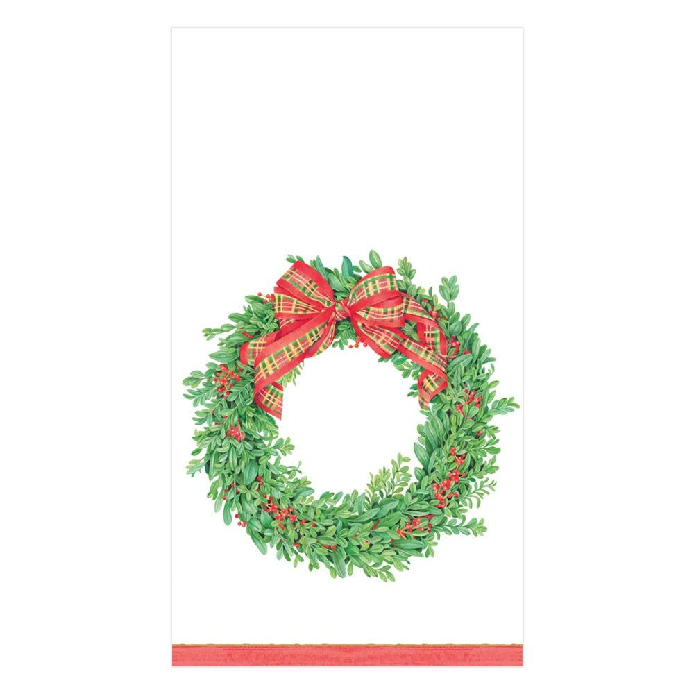 Boxwood and Berries Wreath Guest Towel