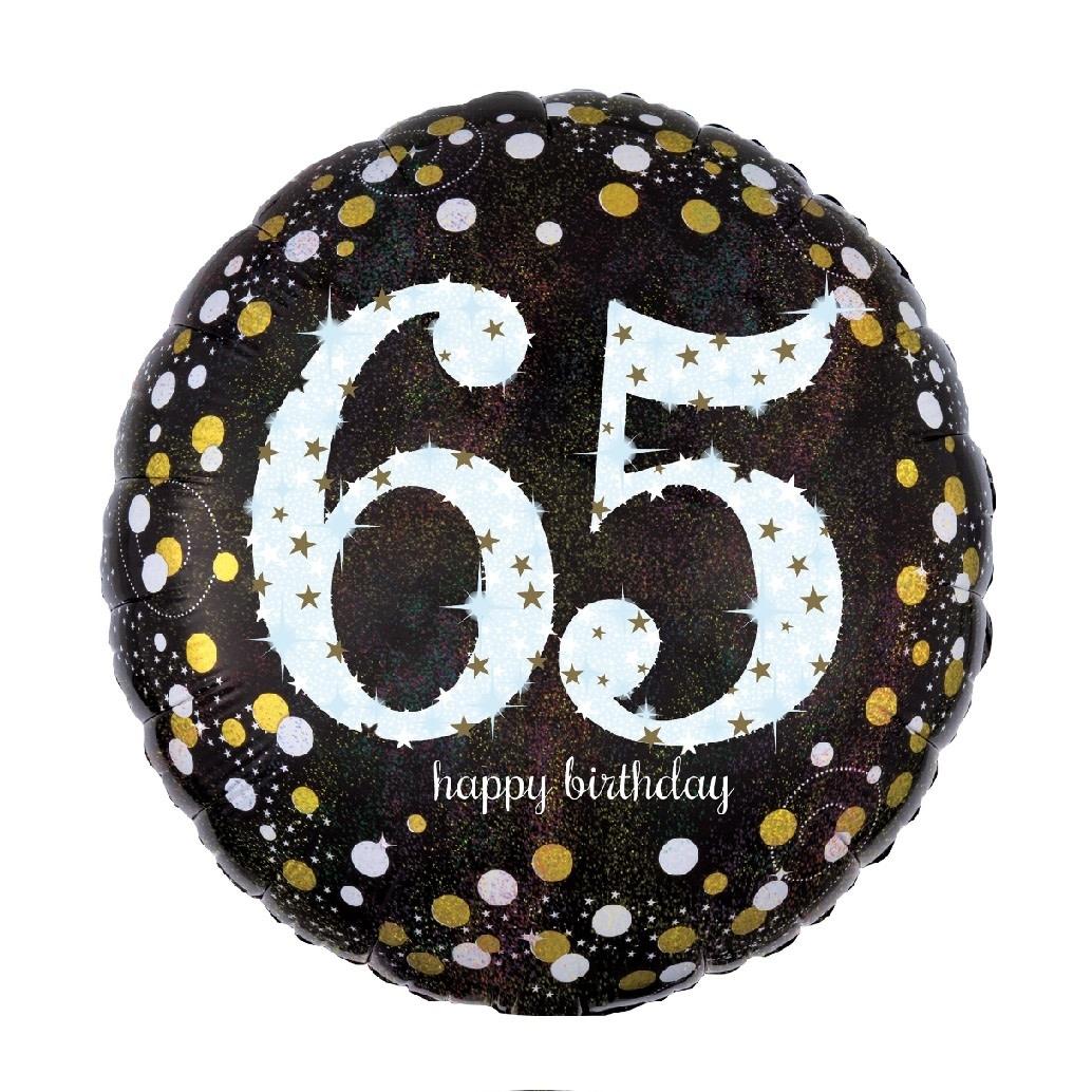 """18"""" Mylar  """"65 Happy Birthday"""" Gold/White Dots- #89"""