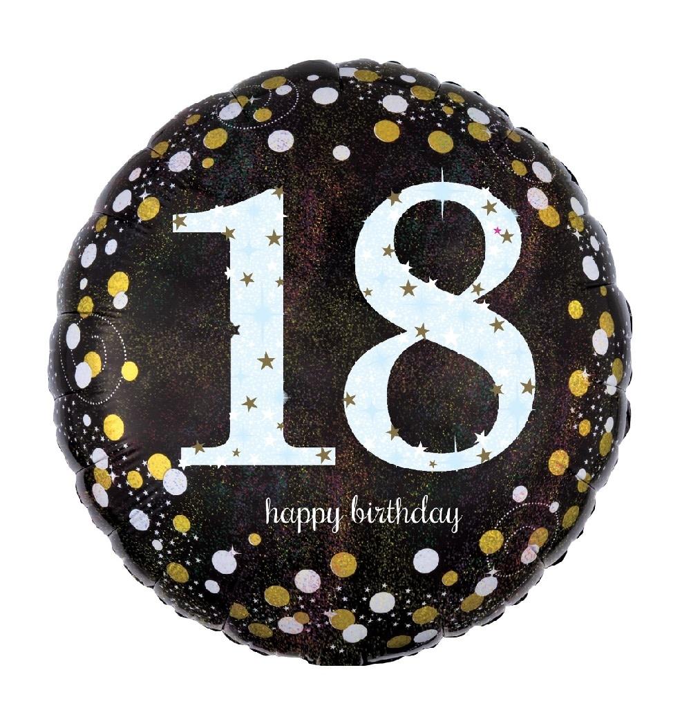 """18"""" Mylar """"18 Happy Birthay"""" Gold/ White Dots - #64"""