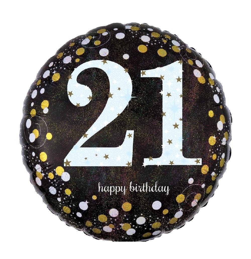"""18"""" Mylar """"21 Happy Birthday"""" Gold/White Dots - #69"""