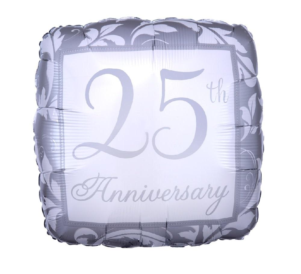 """18"""" Mylar """"25th Anniversary"""" Silver Square  - #239"""