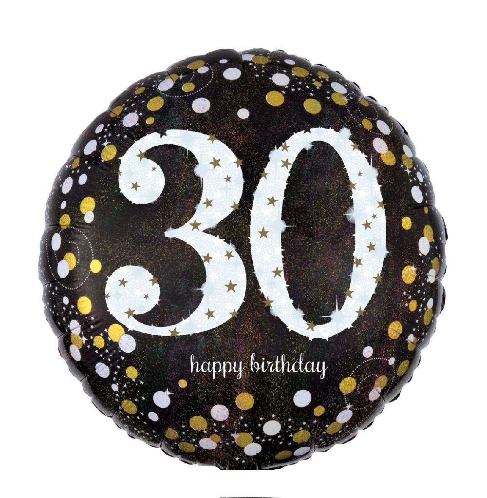 """18"""" Mylar """"30 Happy Birthday"""" Gold/White Dots- #73"""