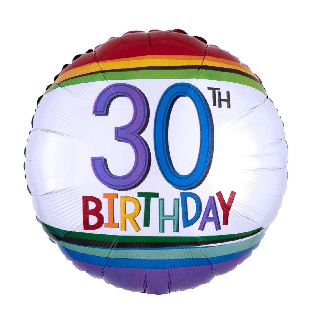 "18"" Mylar ""30th Birthday"" Rainbow Stripes - #76"