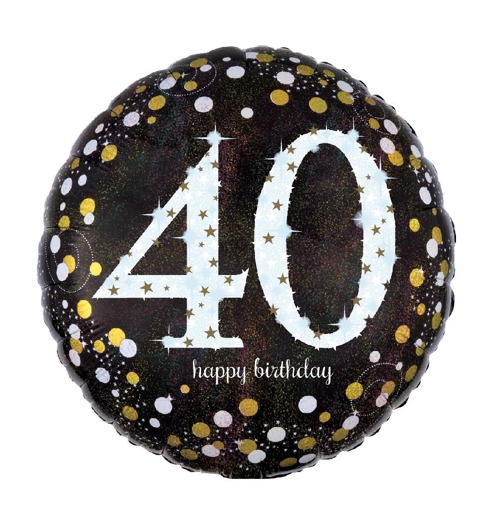"""18"""" Mylar """"40 Happy Birthday"""" Gold/White Dots - #77"""