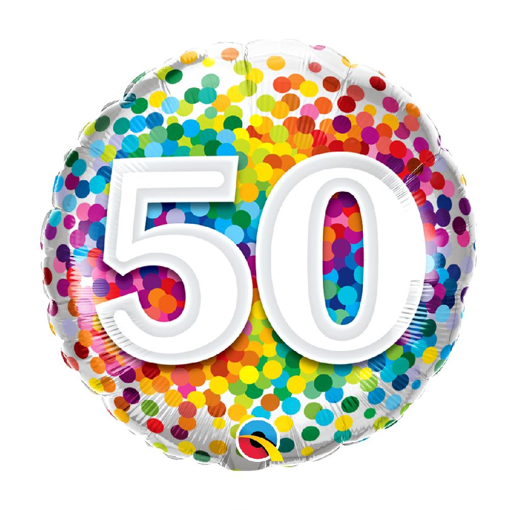 """18"""" Mylar """"50"""" Rainbow Dots - #83"""