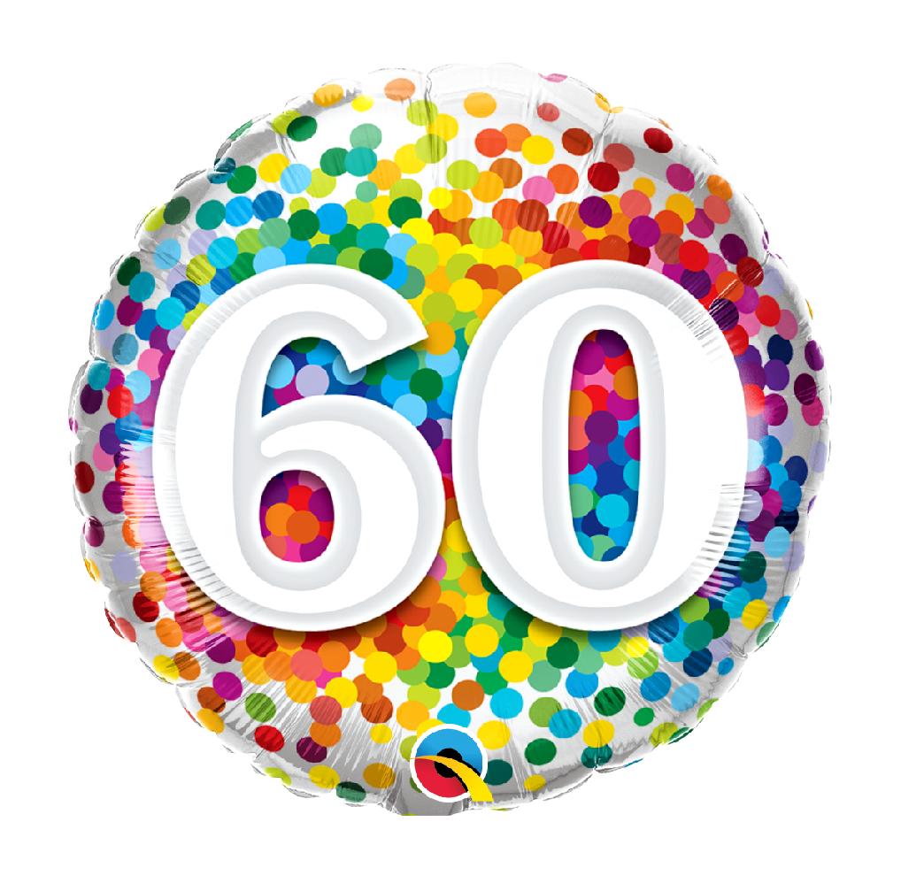 """18"""" Mylar """"60"""" Rainbow Dots - #87"""