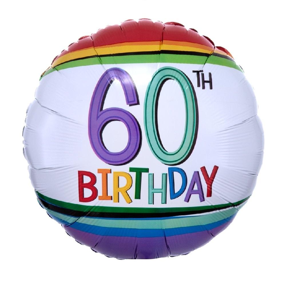 "18"" Mylar ""60th Birthday"" Rainbow Stripes - #88"