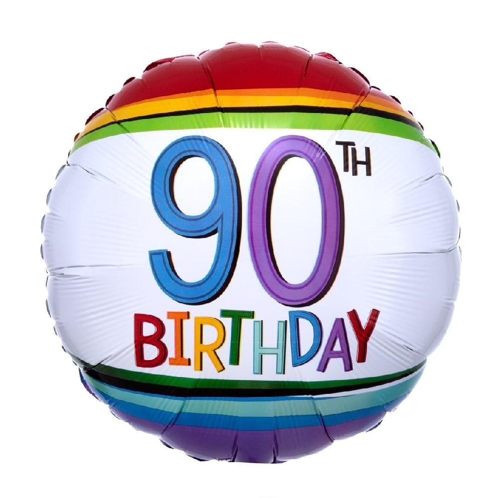 "18"" Mylar ""90th Birthday"" Rainbow Stripes - #98"