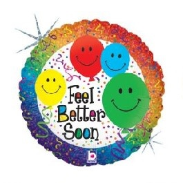 "18"" Mylar ""Feel Better Soon"" Smiley Balloons - #158"
