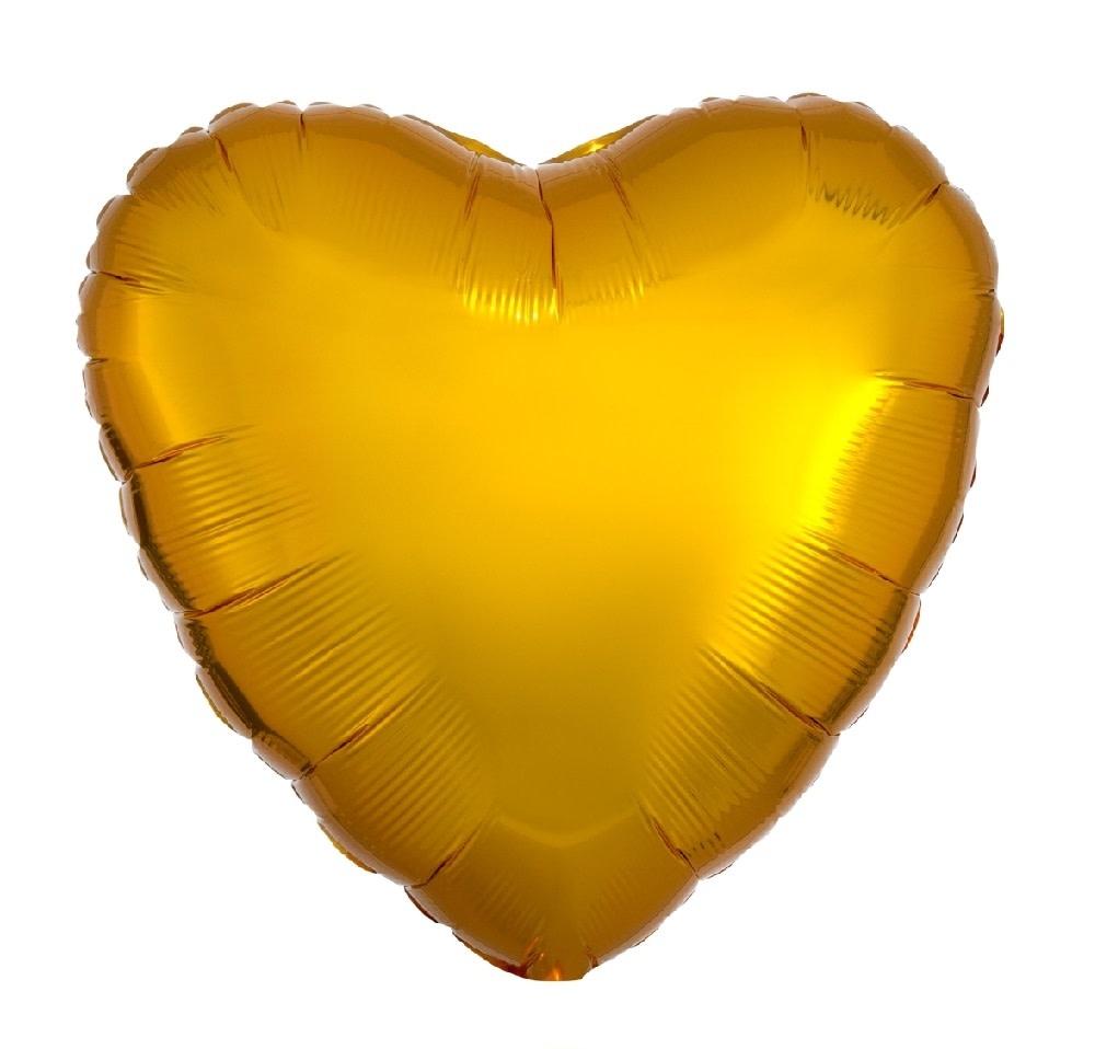 """18"""" Mylar """"Gold Heart"""" - #342"""