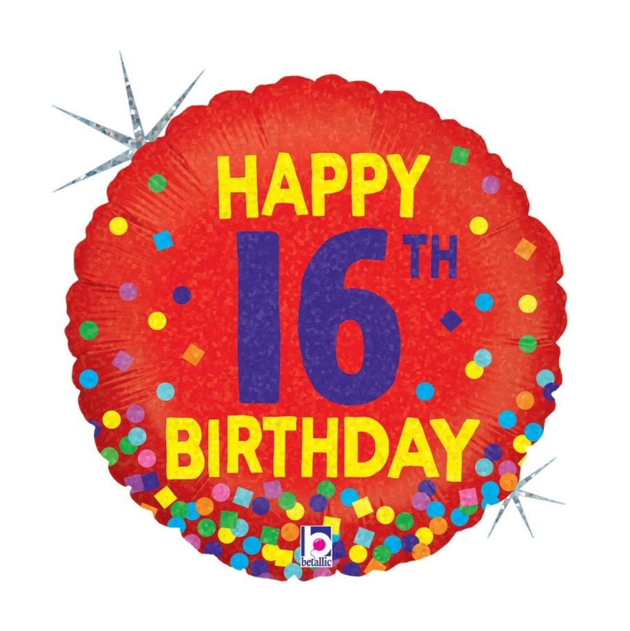 "18"" Mylar ""Happy 16th Birthday"" Red/ Rainbow Dots - #60"
