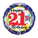 "18"" Mylar ""Happy 21st Birthday"" Rainbow Stars/Dots- #71"