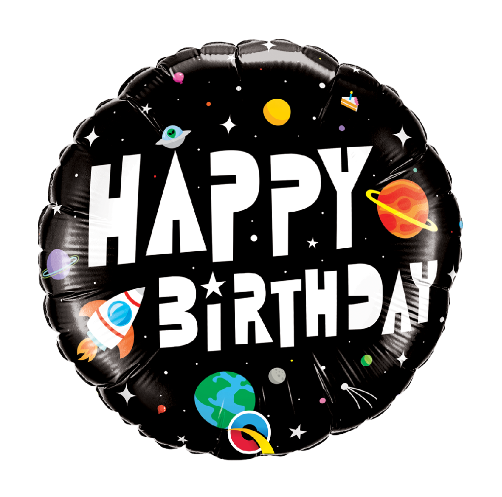 """18"""" Mylar """"Happy Birthday"""" Outer Space - #48"""