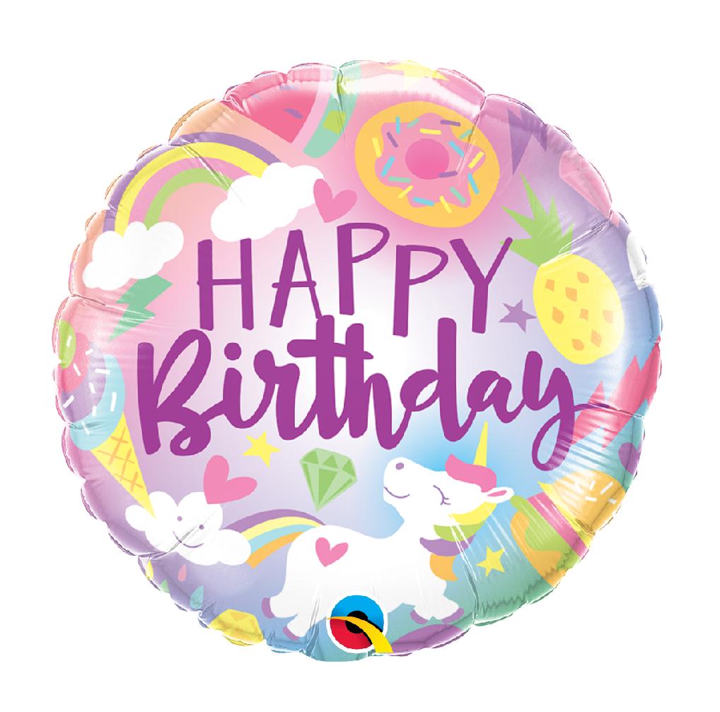 "18"" Mylar ""Happy Birthday"" Unicorn Treats - #41"