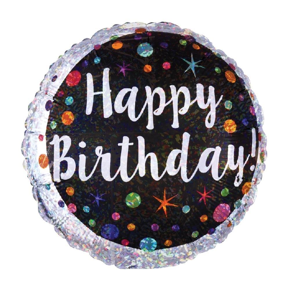 """18"""" Mylar """"Happy Birthday"""" Chrome Dots & Stars - #22"""