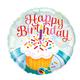"""18"""" Mylar """"Happy Birthday"""" Cupcake - #21"""