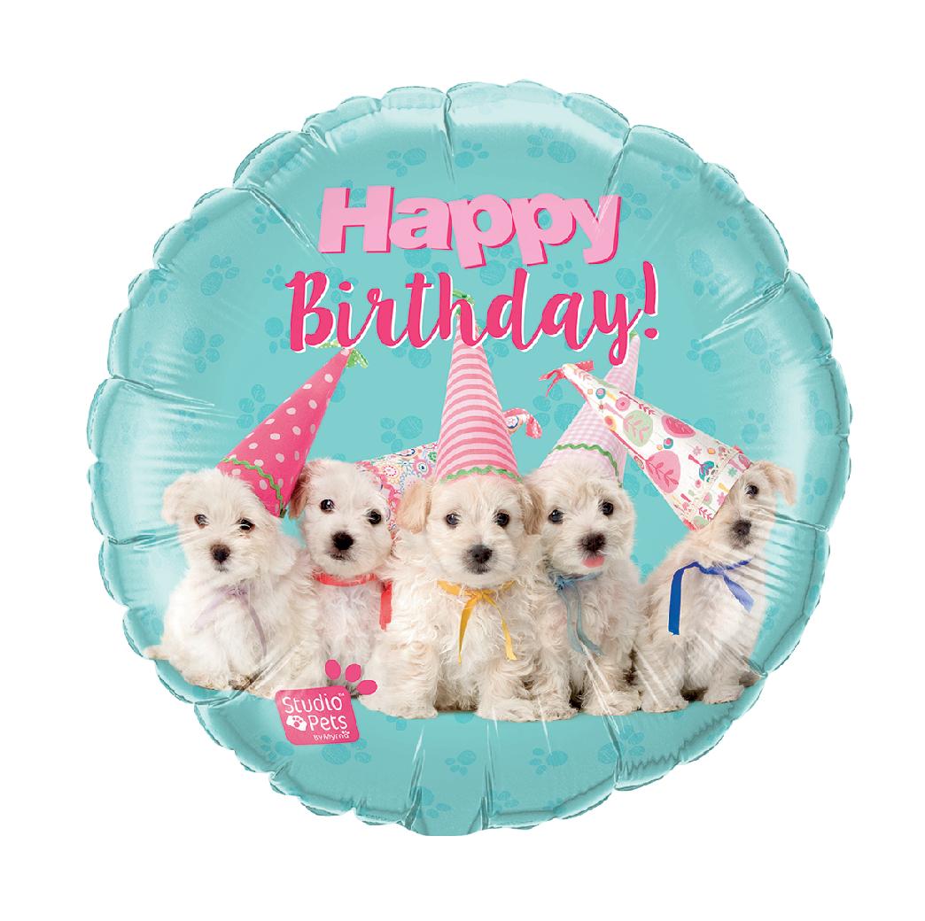 "18"" Mylar ""Happy Birthday"" Cute Puppies - #35"