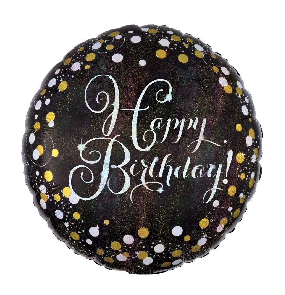 """18"""" Mylar """"Happy Birthday"""" Gold/White Dots - #16"""