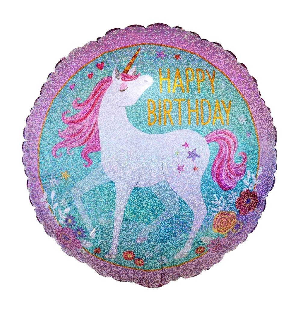 "18"" Mylar ""Happy Birthday"" Majestic Unicorn - #39"