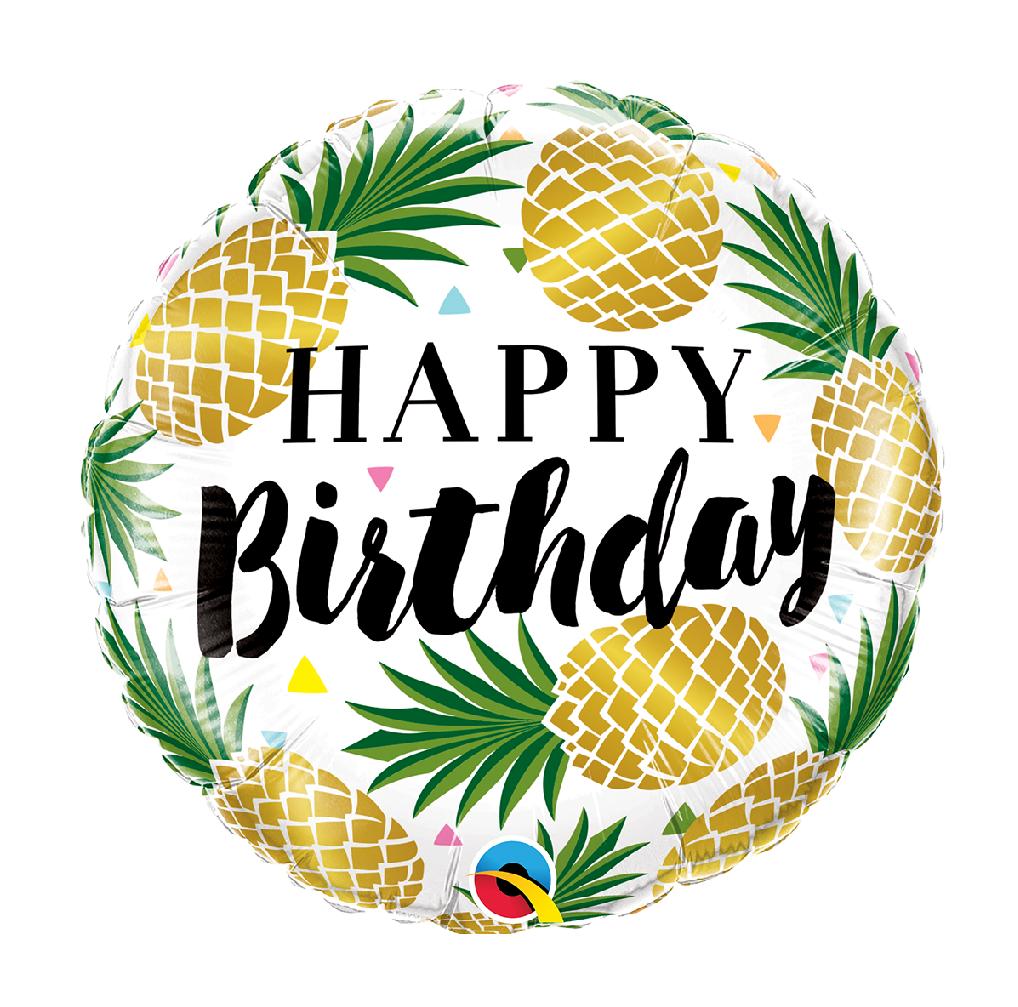 "18"" Mylar ""Happy Birthday"" Pineapple - #49"