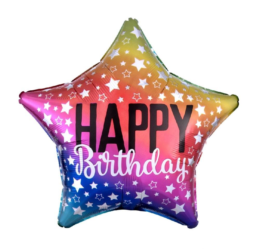 "18"" Mylar ""Happy Birthday"" Rainbow Stars - #24"