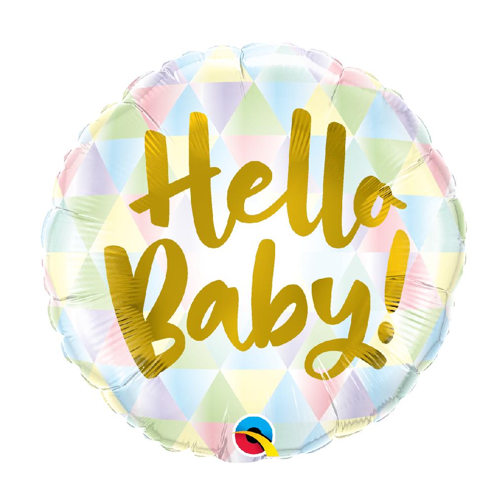 "18"" Mylar ""Hello Baby"" Pastel Triangle Pattern - #249"