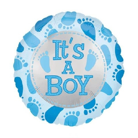 "18"" Mylar ""It's a Boy"" Blue Footprints - #260"