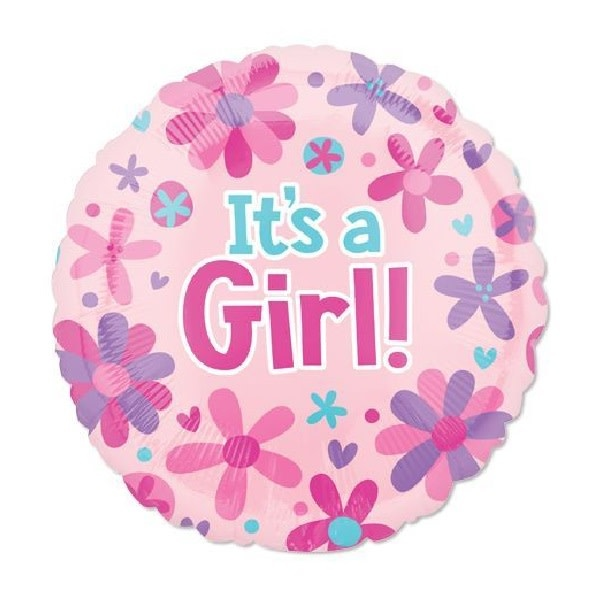 """18"""" Mylar """"It's a Girl"""" Floral - #263"""