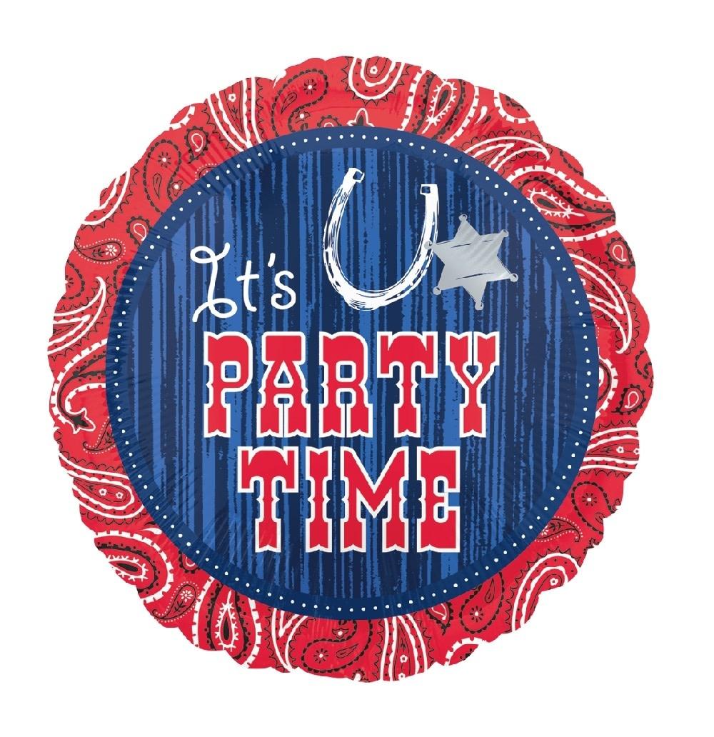 """18"""" Mylar """"It's Party Time"""" Wild West - #377"""