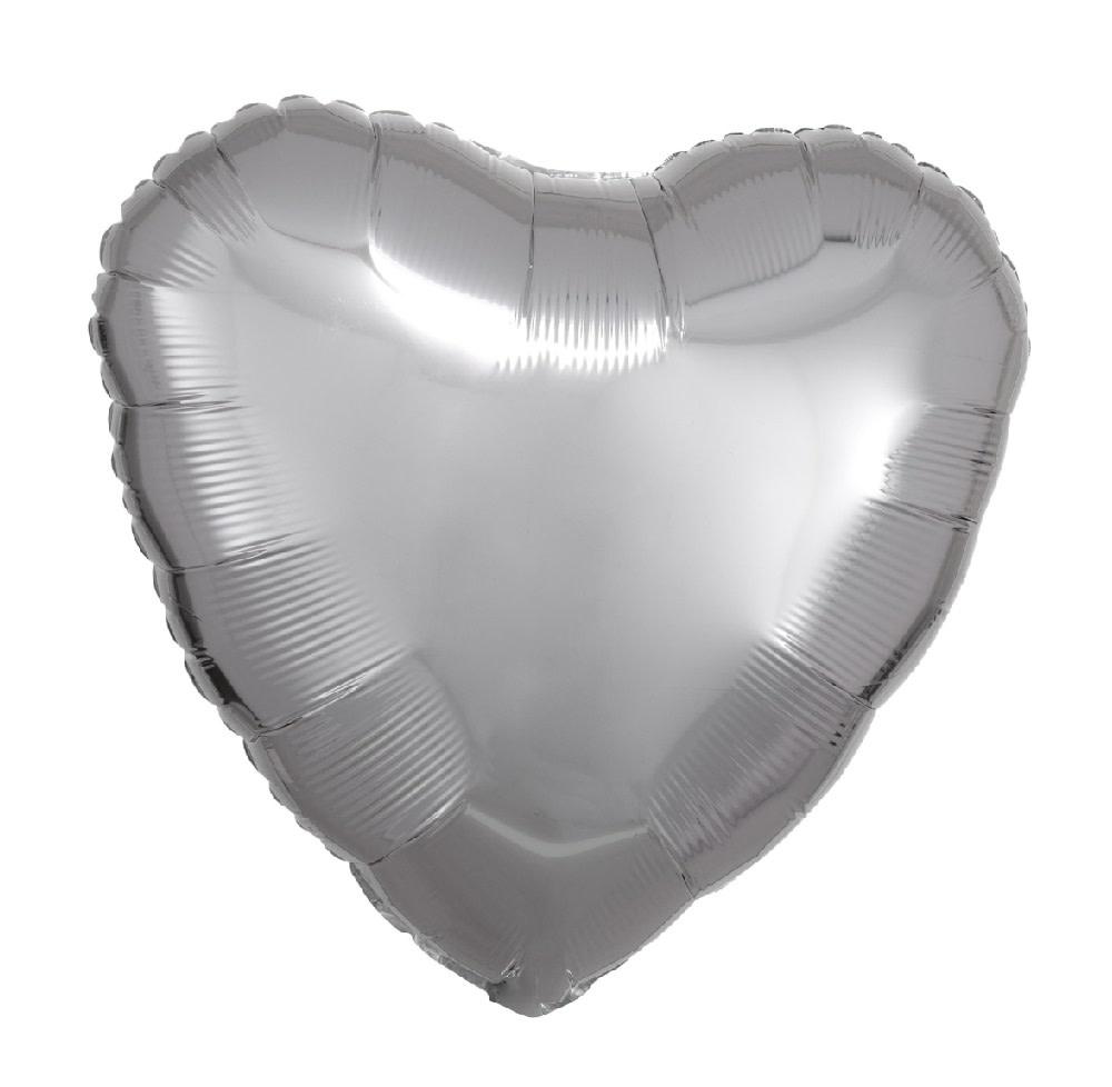 """18"""" Mylar """"Silver Heart"""" - #343"""