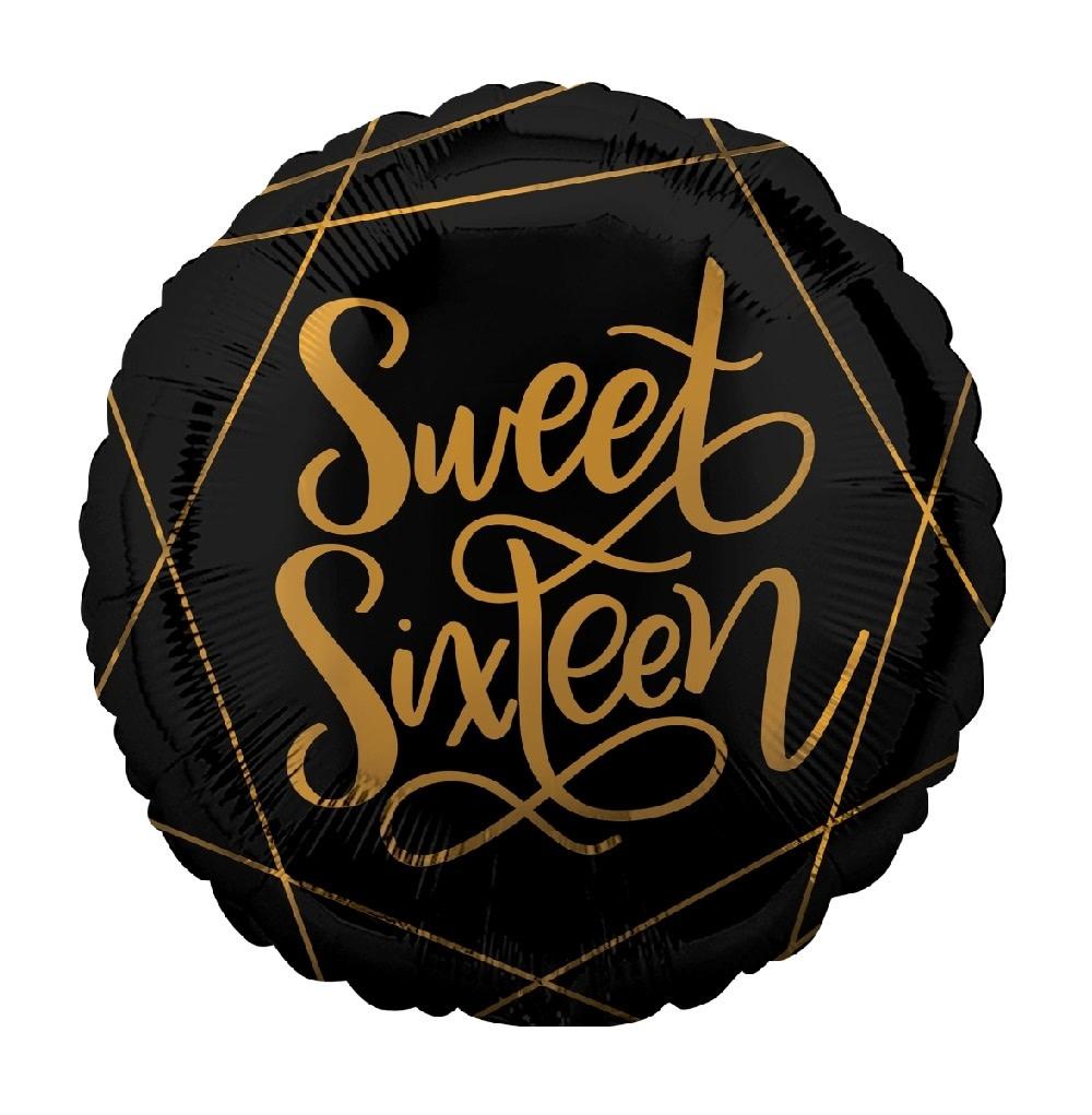 "18"" Mylar ""Sweet Sixteen"" Black/Gold - #61"