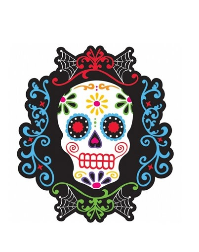 Day of the Dead Skeleton Head Cutout
