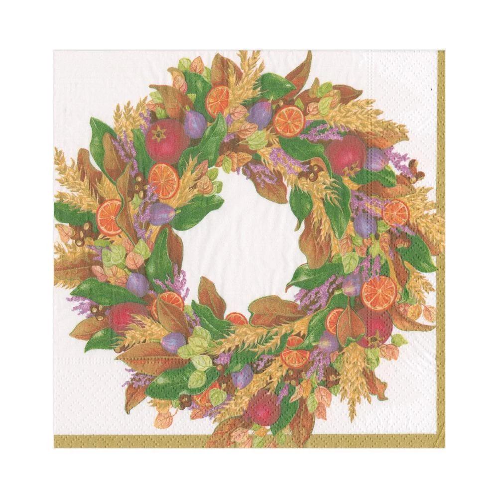 Autumn Wreath Ivory Luncheon Napkins - 20 ct