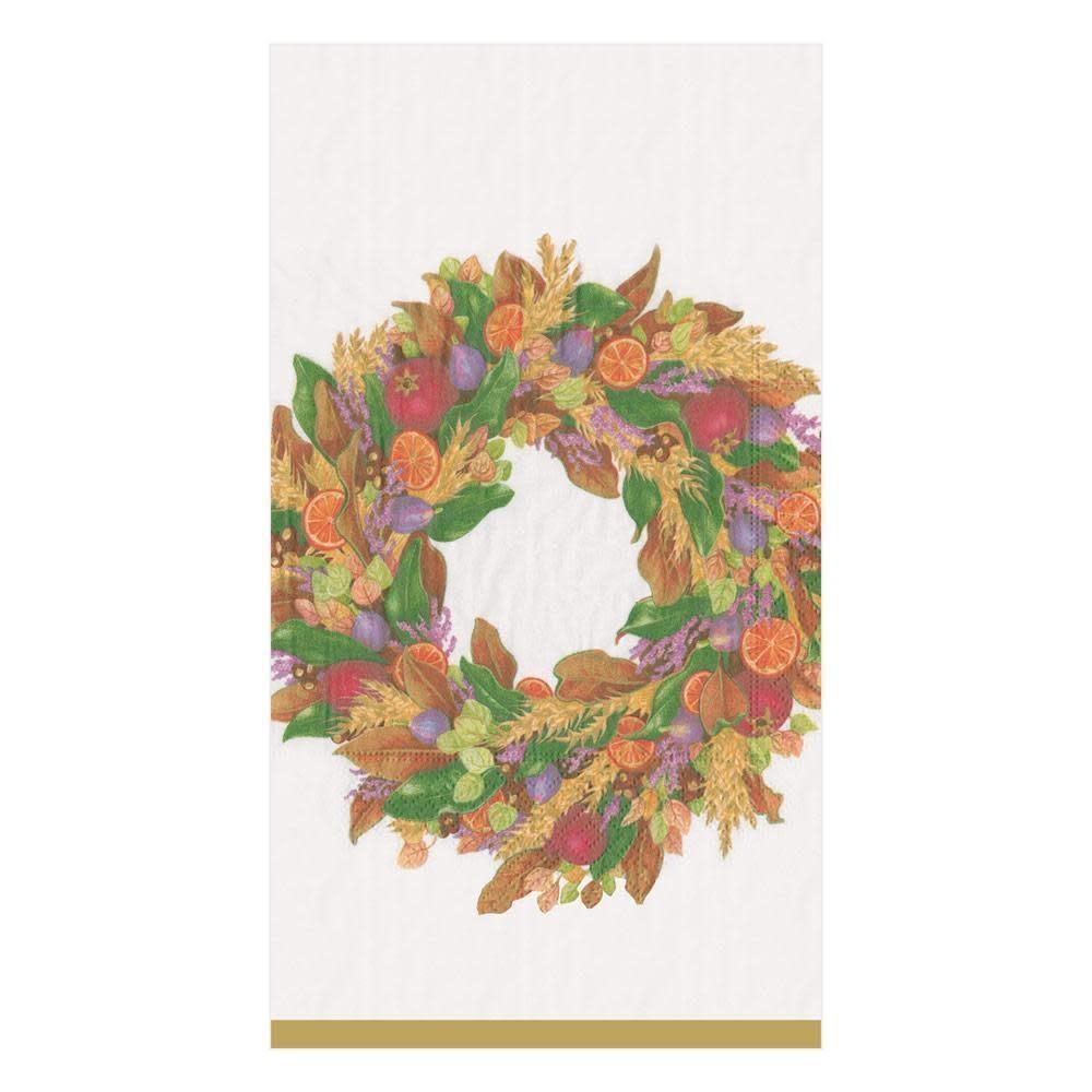 Autumn Wreath Ivory Guest Napkins - 15 ct