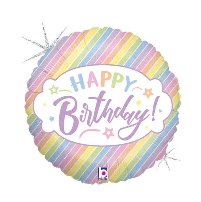 """18"""" Mylar """"Happy Birthday"""" Pastel Holographic Stripes - #1"""