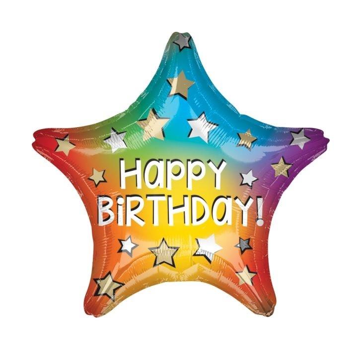 """18"""" Mylar Happy Birthday Rainbow Star - #25"""