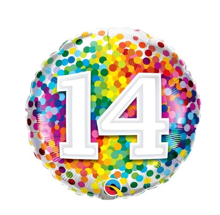 "Rainbow Confetti 14th Birthday Mylar Balloon - 18"""