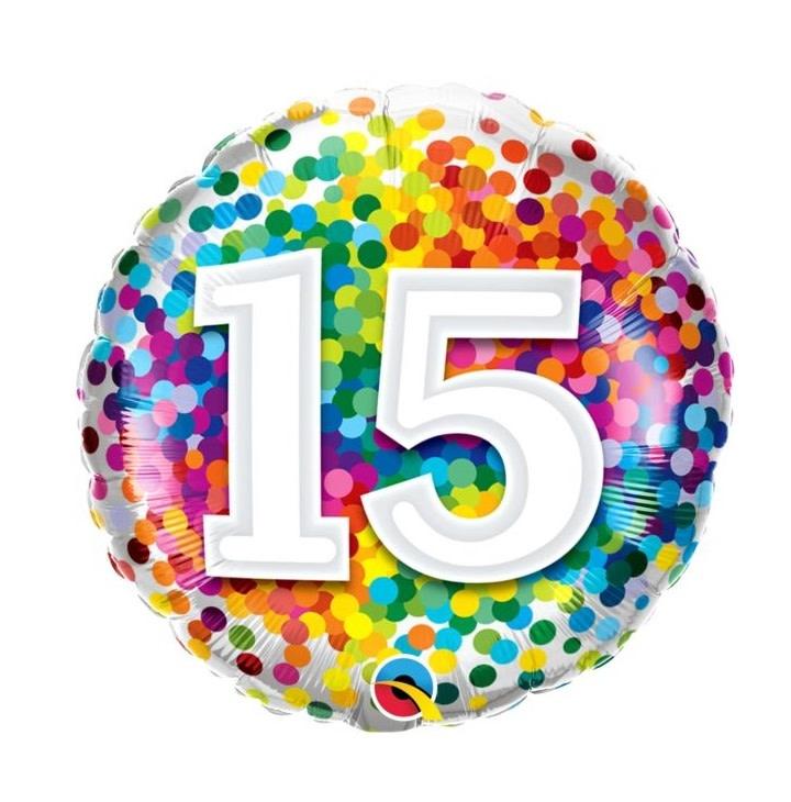 "18"" Rainbow Confetti 15th Birthday Mylar Balloon"