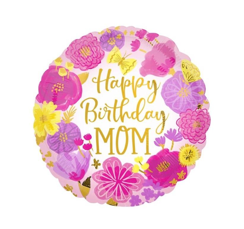 """18"""" Mylar Happy Birthday Mom - #149"""